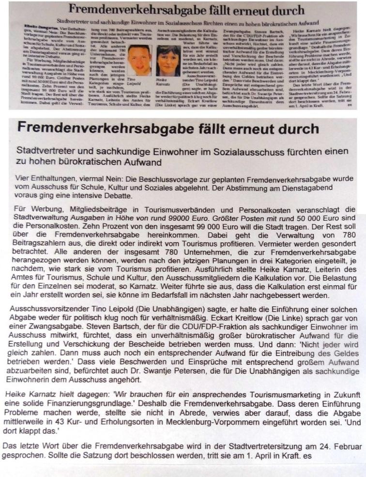OZ-Beitrag zur Fremdenverkehrsabgabe in OZ Lokal auf Seite 11 der Ostsee-Zeitung  am 18.02.2016
