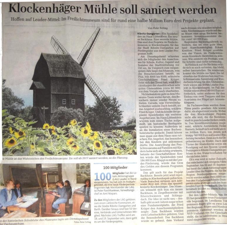 Klockenhäger Mühle soll saniert werden / Beitrag in der Ribnitz-Damgartener Ausgabe der Ostsee-Zeitung vom 27.August 2015 Lokalteil Seite 12
