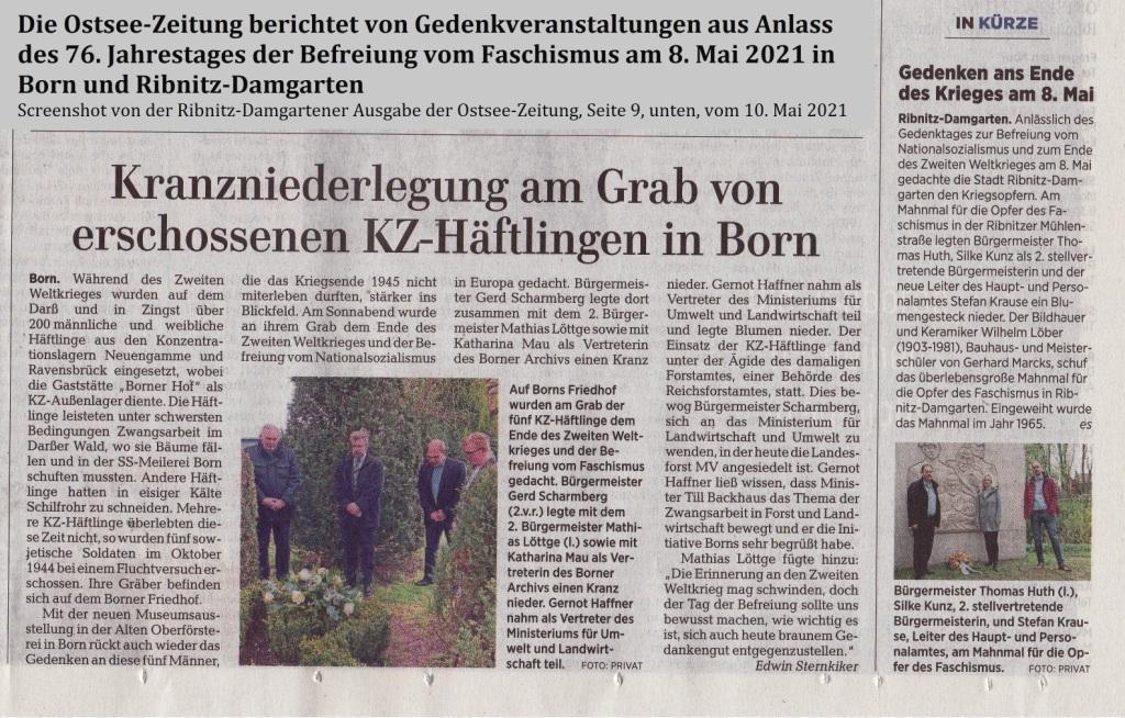 Die Ostsee-Zeitung berichtet von Gedenkveranstaltungen aus Anlass des 76. Jahrestages der Befreiung vom Faschismus am 8. Mai 2021 in Born und Ribnitz-Damgarten - Screenshot der Ribnitz-Damgartener Ausgabe der Ostsee-Zeitung, Seite 9, unten, vom 10. Mai 2021