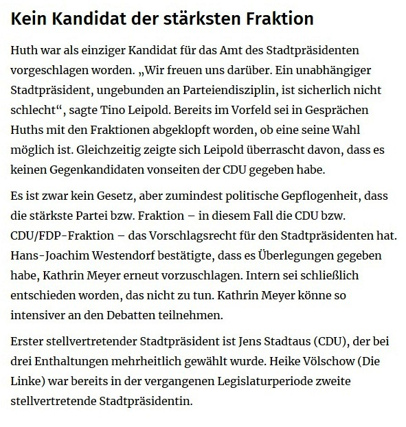 Ein neuer Stadtpräsident und die AfD ganz links - OZ-Bericht von der konstituierenden Sitzung der Stadtvertretung Ribnitz-Damgarten am 26. Juni 2019 - von OZ-Redakteur Robert Niemeyer