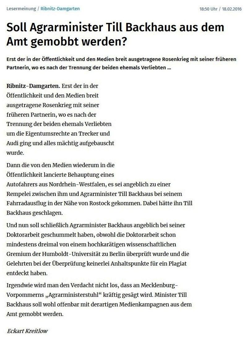 Leserbrief von Eckart Kreitlow an die Ostsee-Zeitung zu Mobbing gegen Agrarminister Dr. Till Backhaus - Soll Agrarminister Dr. Till Backhaus aus dem Amt gemobbt werden? - der Leserbrief ist erschienen in der Ostsee-Zeitung am 18. Februar 2016 - Neue Unabhängige Onlinezeitungen (NUOZ) Ostsee-Rundschau.de - vielseitig, informativ und unabhängig - Präsenzen der Kommunikation und der Publizistik mit vielen Fotos und  bunter Vielfalt