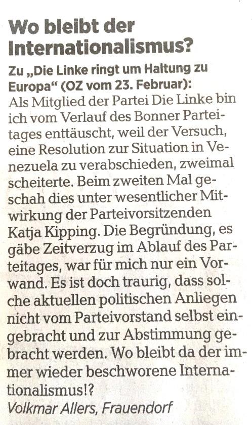 Ostsee-Rundschau.de - Aus dem Posteingang - Wo bleibt der Internationalismus? Leserbrief von Volkmar Allers aus Frauendorf, Landkreis Vorpommern-Rügen, an die Ostsee-Zeitung - veröffentlicht in der OZ am 01. März 2019