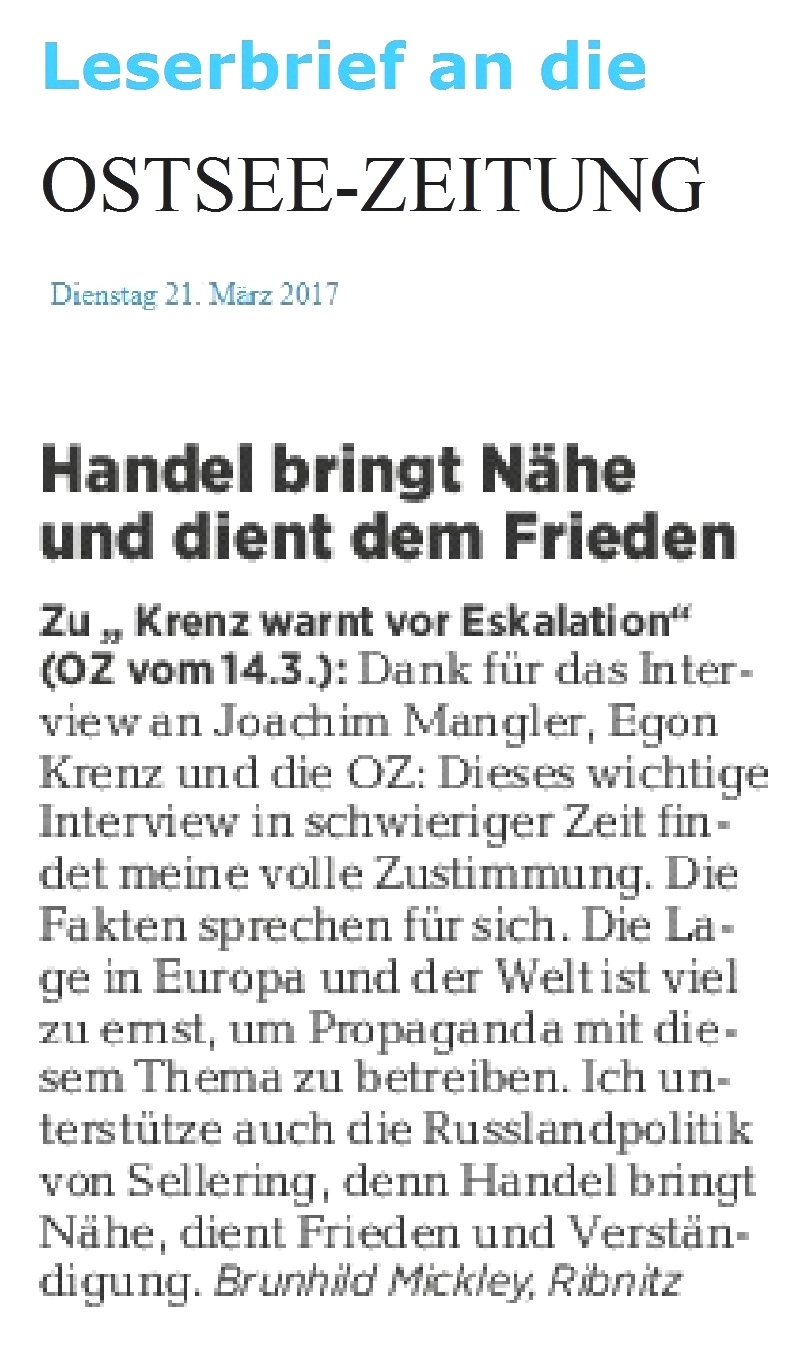 Leserbrief von Brunhild Mickley aus Ribnitz-Damgarten an die Ostsee-Zeitung - erschienen am 21.03.2017
