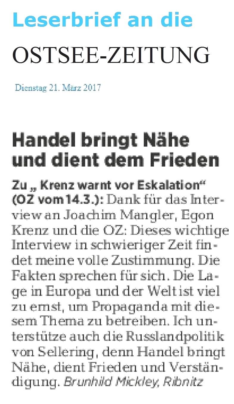 Leserbrief von Brunhild Mickley aus Ribnitz-Damgarten an die Ostsee-Zeitung - erschienen am 21.03.2017