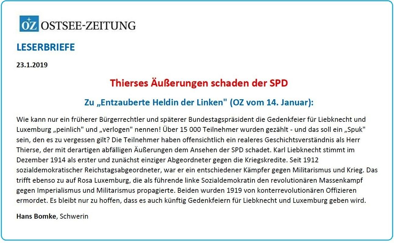 Leserbrief von Hans Bomke, Schwerin,  an die Ostsee-Zeitung zu dem OZ-Beitrag 'Entzauberte Heldin der Linken' (OZ vom 14. Januar 2019) - Thierses Äußerungen schaden der SPD -  erschienen in der OZ am 23.01.2019