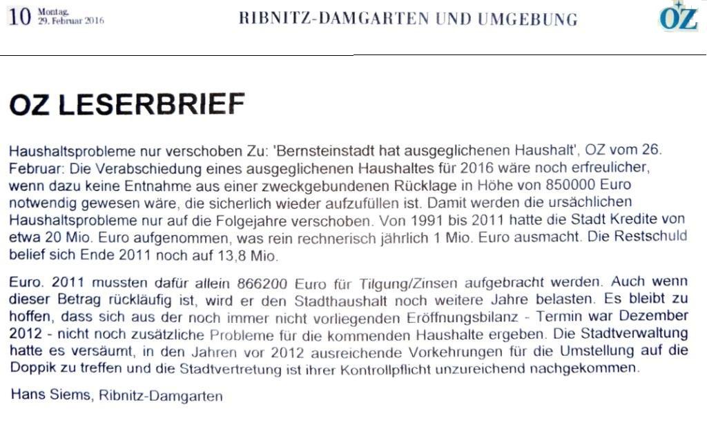OZ-Leserbrief von Hans Siems, veröffentlicht in OZ Lokal Ribnitz-Damgarten und Umgebung auf Seite 10 der Ostsee-Zeitung  am 29.02.2016