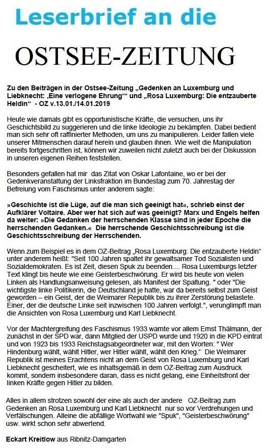 Leserbrief zu OZ-Beiträgen zum 100. Todestag von Rosa Luxemburg und Karl Liebknecht