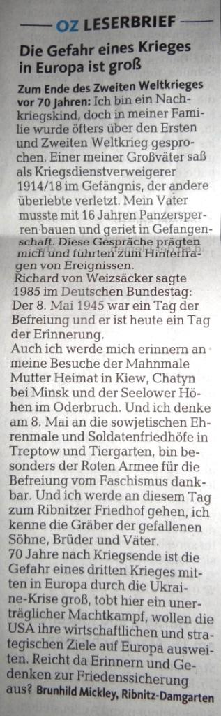 In der Ostsee-Zeitung am 8.Mai 2015 im Lokalteil auf der Seite 10 veröffentlichter Leserbrief von Frau Brunhild Mickley aus Ribnitz-Damgarten.