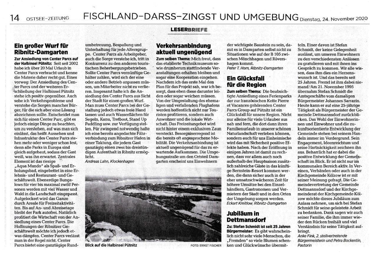 Der Leserbrief vom 13.11.2020 an die Ostsee-Zeitung zur Ansiedlung der Center Parcs Group auf der Halbinsel Pütnitz erschien in der OZ am 24. November 2020 zusammen mit weiteren Leserbriefen in der Ribnitz-Damgartener Ausgabe der OZ auf der Seite Fischland - Darss - Zingst und Umgebung | Seite 14
