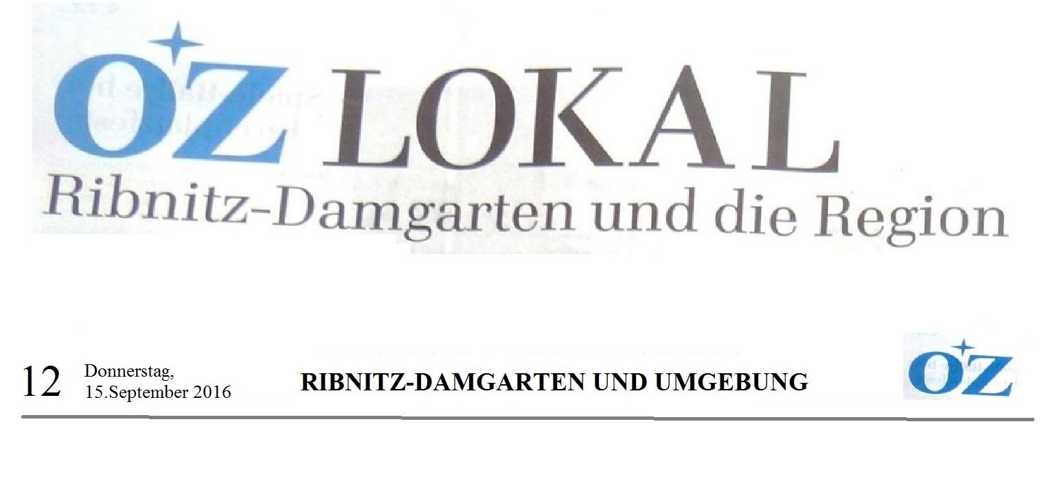 OZ Lokal Ribnitz-Damgarten und die Region vom 15.09.2016, Seite 12