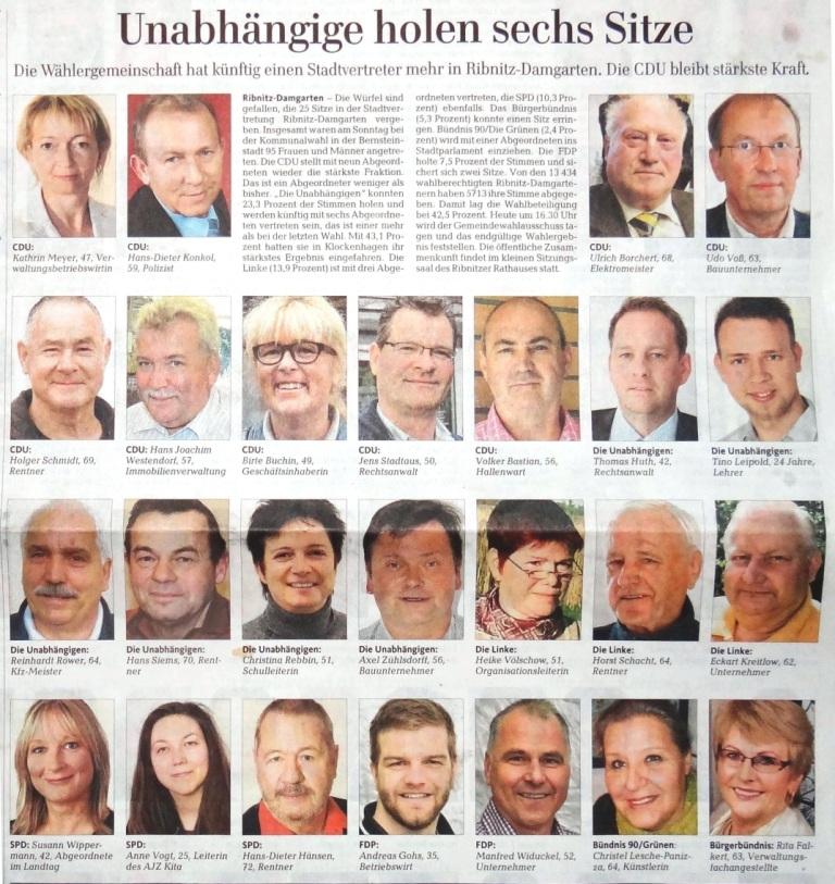 Auch die Ostsee-Zeitung informierte am 27.05.2014 auf ihrer Lokalseite für Ribnitz-Damgarten und die Region über die bei den Kommunalwahlen am 25. 05.2014 gewählten Bewerberinnen und Bewerber um die insgesamt 25 Abgeordnetensitze der Stadtvertretung Ribnitz-Damgarten. Die Mandatsverteilung in der Stadtvertretung Ribnitz-Damgarten ist wie folgt: CDU 9 Sitze, DIE LINKE 3 Sitze, SPD 3 Sitze, FDP 2 Sitze, GRÜNE 1 Sitz, Bürgerbündnis 1 Sitz und Die Unabhängigen 6 Sitze. Foto: Eckart Kreitlow