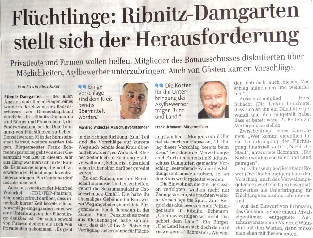 Flüchtlinge: Ribnitz-Damgarten stellt sich der Herausforderung / Beitrag in der Ribnitz-Damgartener Wochenendausgabe der Ostsee-Zeitung vom 29./30.August 2015 Lokalteil Seite 9