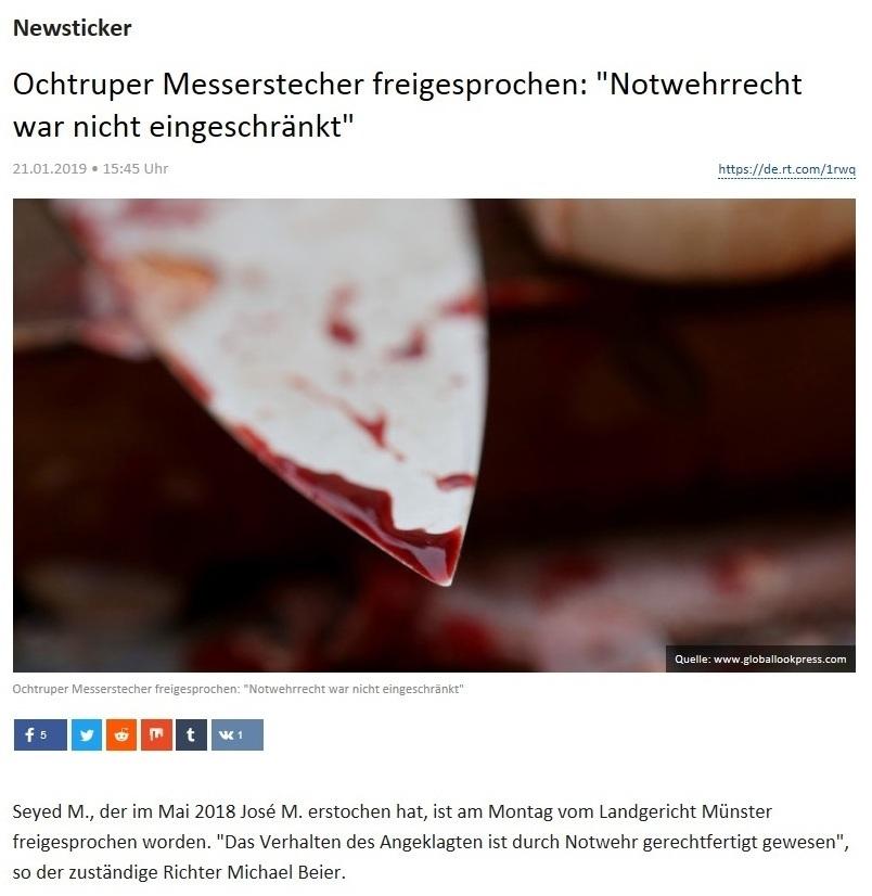 Newsticker - Ochtruper Messerstecher freigesprochen: 'Notwehrrecht war nicht eingeschränkt'