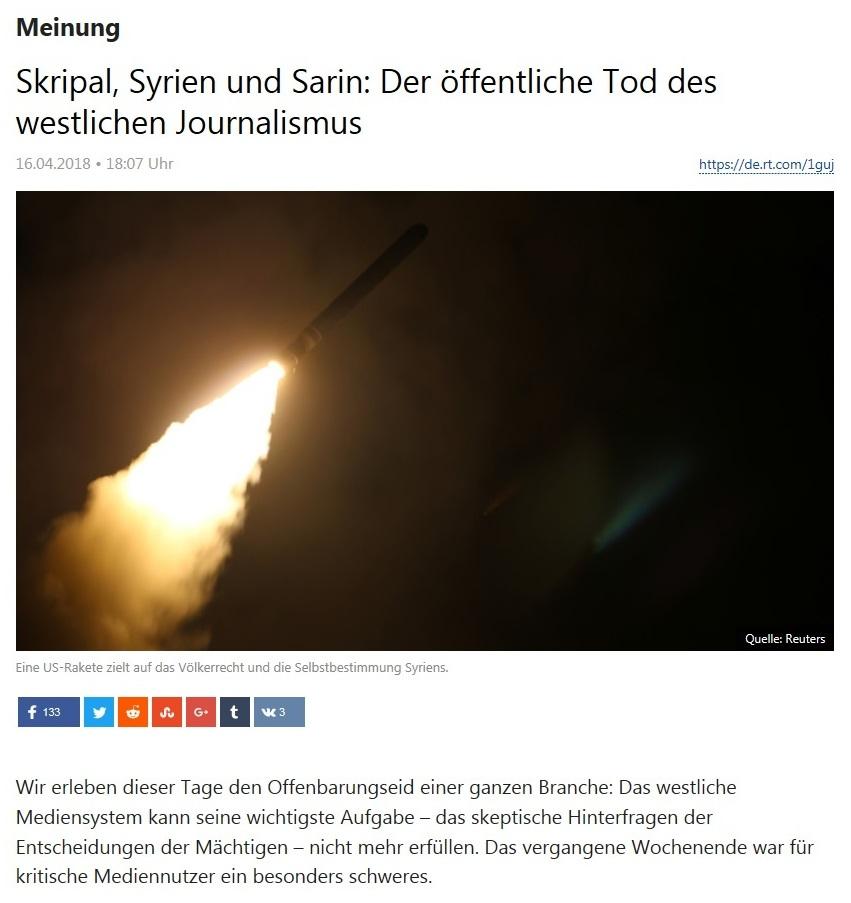 Meinung - Skripal, Syrien und Sarin: Der öffentliche Tod des westlichen Journalismus