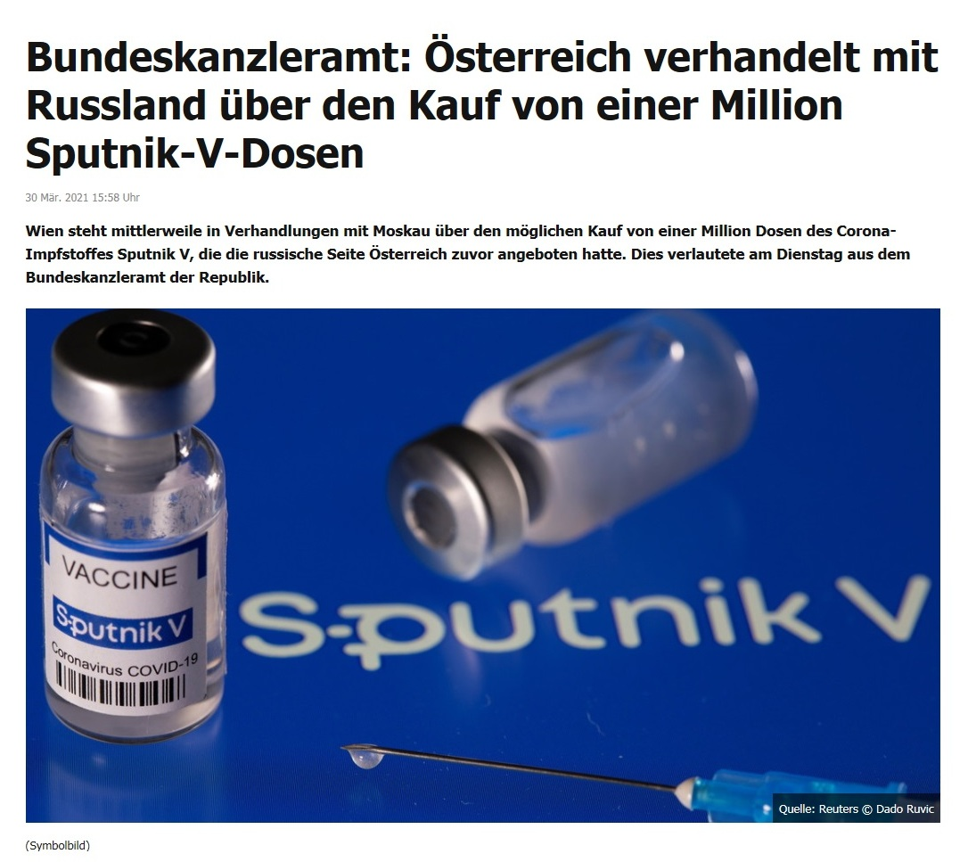 Bundeskanzleramt: Österreich verhandelt mit Russland über den Kauf von einer Million Sputnik-V-Dosen -  RT DE - 30 Mär. 2021 15:58 Uhr
