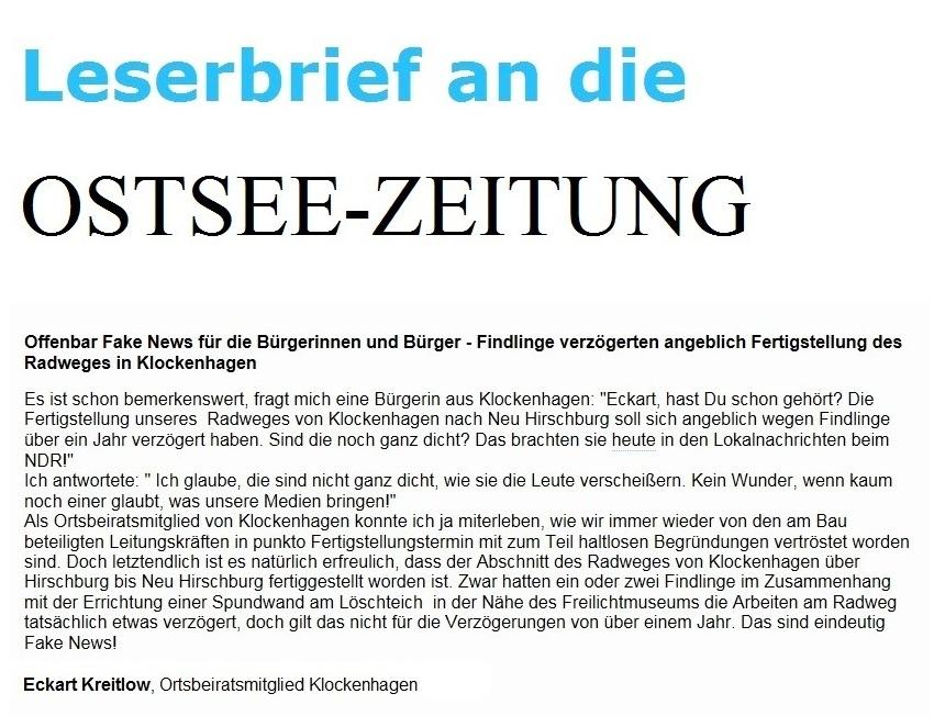 Leserbrief an die Ostsee-Zeitung - Offenbar Fake News für die Bürgerinnen und Bürger - Findlinge verzögerten angeblich Fertigstellung des Radweges in Klockenhagen - von Eckart Kreitlow, Ortsbeiratsmitglied von Klockenhagen