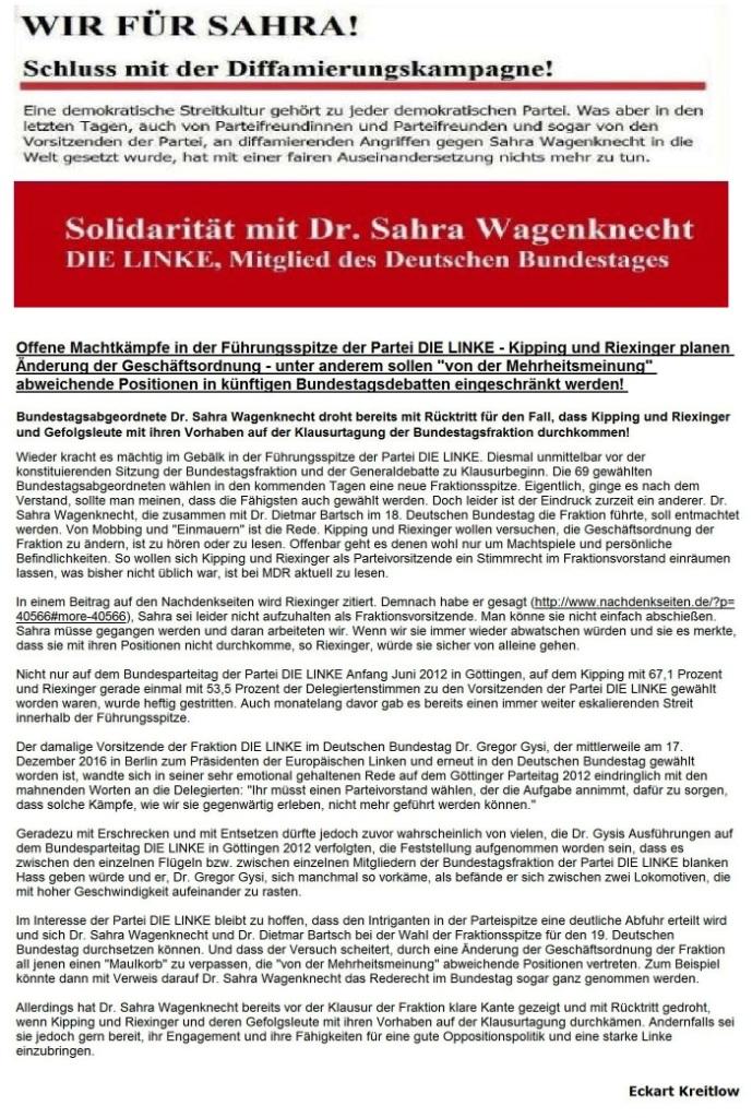 Wir für Sahra! - Schluss mit der Diffamierungskampagne! - Offene Machtkämpfe in der Führungsspitze der Partei DIE LINKE - Kipping und Riexinger planen Änderung der Geschäftsordnung - unter anderem sollen von der Mehrheitsmeinung abweichende Positionen in künftigen Bundestagsdebatten eingeschränkt werden.
