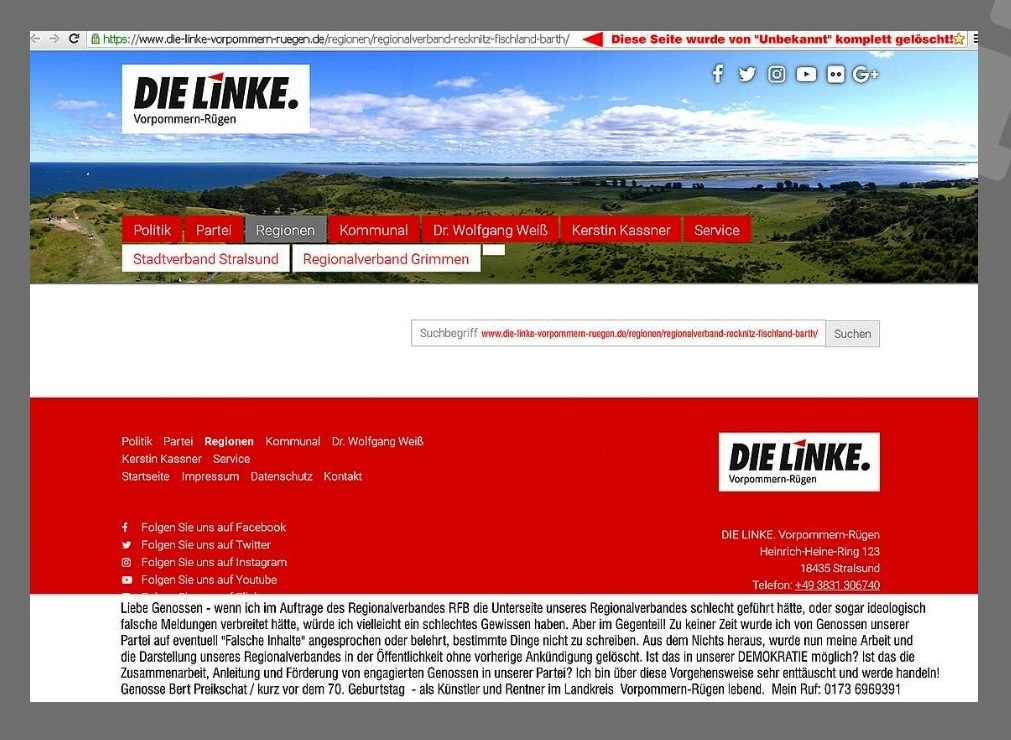 Aus dem Posteingang - Aus der Debatte DIE LINKE Kreisverband Vorpommern-Rügen - Oktober/ November 2018 - Offener Brief von Genossen Bert Preikschat - Regionalverband DIE LINKE Recknitz - Fischland - Barth