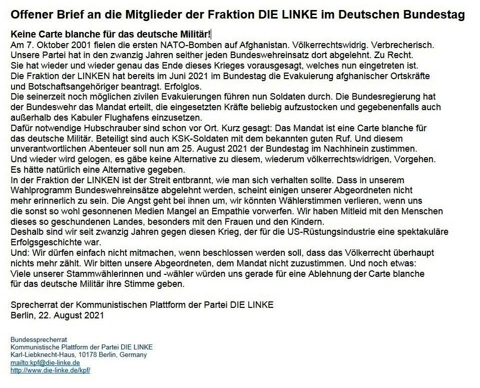 WG: [Kpf-informationen] Offener Brief an die Mitglieder der Fraktion DIE LINKE im Deutschen Bundestag - Aus dem Posteingang von Waltraud vom 22. Agust 2021