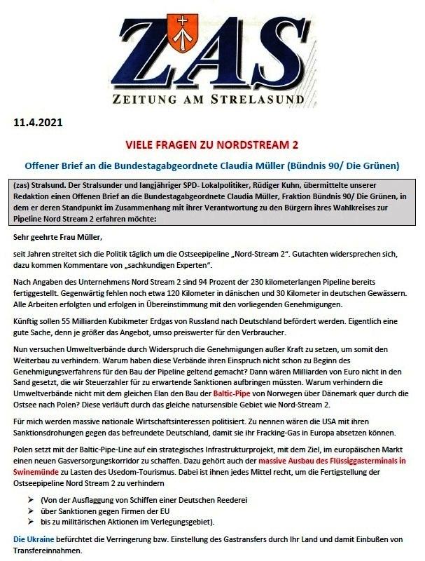 Viele Fragen zu Nordstream 2 - Offener Brief an die Bundestagsabgeordnete Claudia Müller (Bündnis 90/Die Grünen) - von Rüdiger Kuhn - Zeitung am Strelasund vom 11.04.2021 - Aus dem Posteingang von Siegfried Dienel vom 21.04.2021 - Abschnitt 1