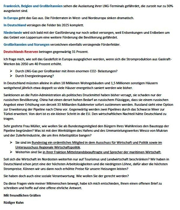 Viele Fragen zu Nordstream 2 - Offener Brief an die Bundestagsabgeordnete Claudia Müller (Bündnis 90/Die Grünen) - von Rüdiger Kuhn - Zeitung am Strelasund vom 11.04.2021 - Aus dem Posteingang von Siegfried Dienel vom 21.04.2021 - Abschnitt 2