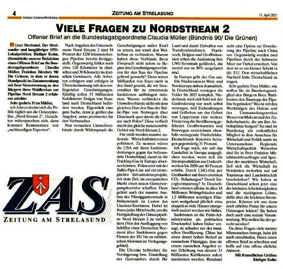 Viele Fragen zu Nordstream 2 - Offener Brief an die Bundestagsabgeordnete Claudia Müller (Bündnis 90/Die Grünen) - von Rüdiger Kuhn - Zeitung am Strelasund vom 11.04.2021 - Aus dem Posteingang von Siegfried Dienel vom 21.04.2021 - Abschnitt 3