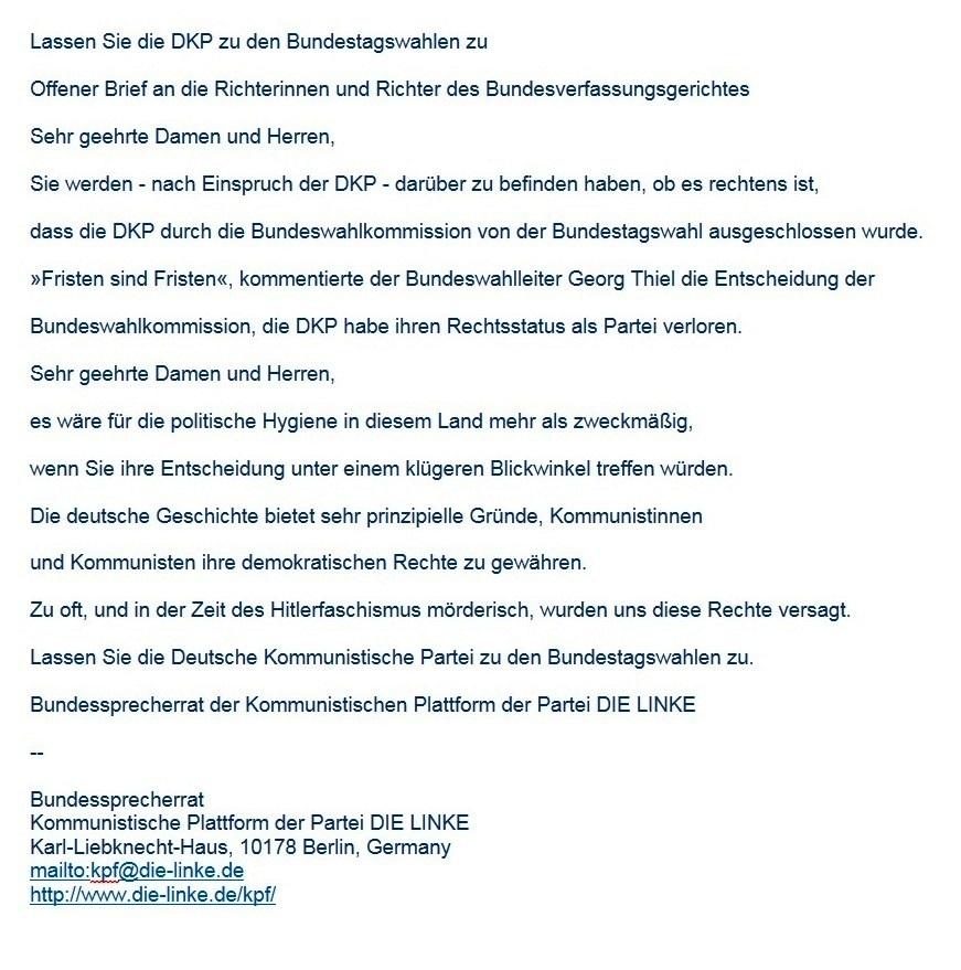 Aus dem Posteingang vom 12.07.2021 von Waltraud Tegge 'wtegge@t-online.de' - Offener Brief an das Bundesverfassungsgericht -  [Kpf-informationen] Lassen Sie die DKP zu den Bundestagswahlen zu