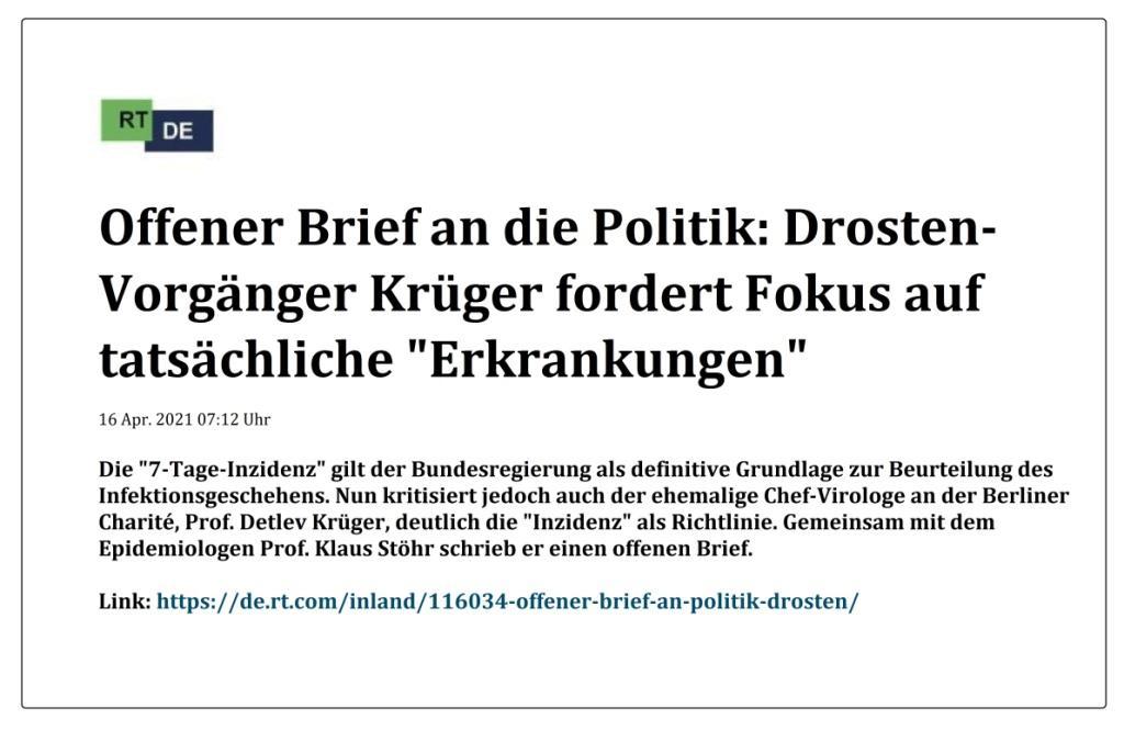 Offener Brief an die Politik: Drosten-Vorgänger Krüger fordert Fokus auf tatsächliche 'Erkrankungen' -  RT DE -  16 Apr. 2021 07:12 Uhr