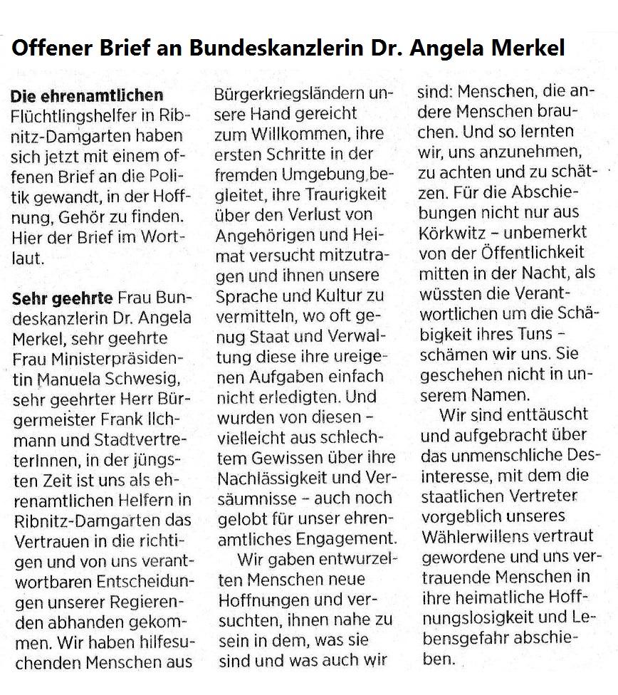 Flüchtlingshelfer frustiert - Ehrenamtler in Ribnitz-Damgarten fühlen sich alleingelassen - Offener Brief der ehrenamtlichen Flüchtlingshelfer an die Bundeskanzlerin Angela Merkel - veröffentlicht in der Ostsee-Zeitung - Ribnitz-Damgartener Ausgabe - Seite 11 - Sonnabend/Sonntag, 18./19. August 2018