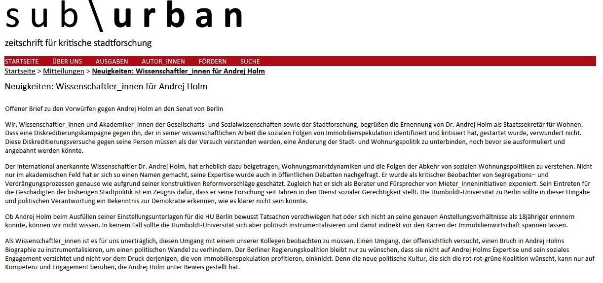 Neuigkeiten: Wissenschaftler_innen für Andrej Holm - Offener Brief zu den Vorwürfen gegen Andrej Holm an den Senat von Berlin