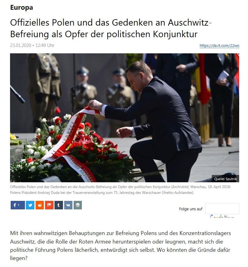 Europa -  Offizielles Polen und das Gedenken an Auschwitz-Befreiung als Opfer der politischen Konjunktur