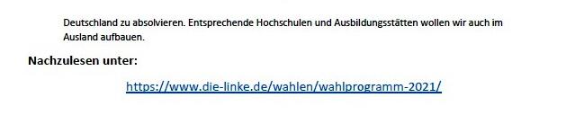Ohne Frieden ist alles nichts! Wahlprogramm der Partei DIE LINKE zur Bundestagswahl am 26. September 2021 - Aus dem Posteingang von Siegfried Dienel vom 03.08.2021 - Link: https://www.die-linke.de/wahlen/wahlprogramm-2021/