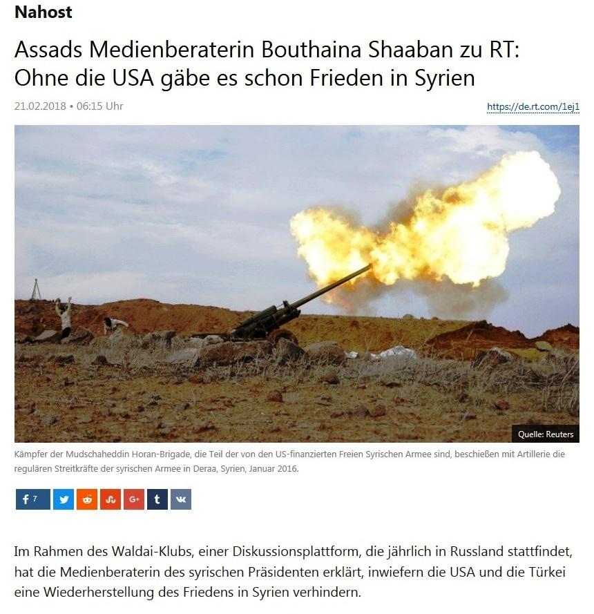 Nahost - Assads Medienberaterin Bouthaina Shaaban zu RT: Ohne die USA gäbe es schon Frieden in Syrien