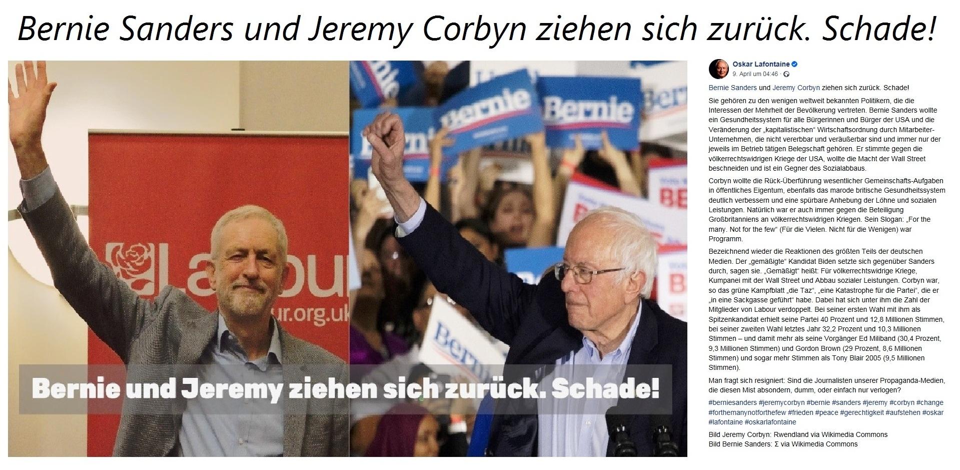 Aus dem Posteingang - Oskar Lafontaine: Bernie Sanders und Jeremy Corbyn ziehen sich zurück. Schade!