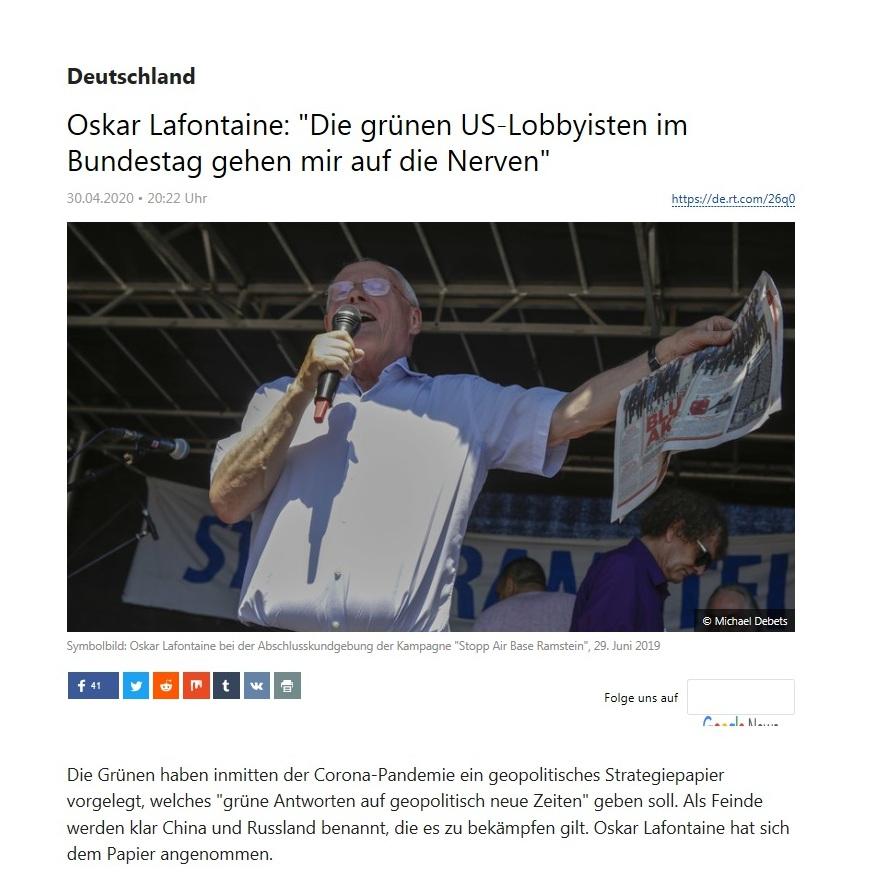 Deutschland - Oskar Lafontaine: 'Die grünen US-Lobbyisten im Bundestag gehen mir auf die Nerven'   - RT Deutsch -  30.04.2020