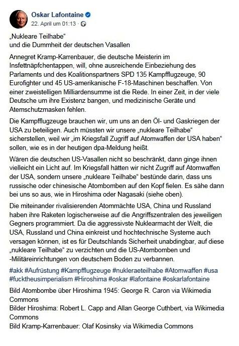 Oskar Lafontaine: 'Nukleare Teilhabe' und die Dummheit der deutschen Vasallen - Facebook - 22.04.2020