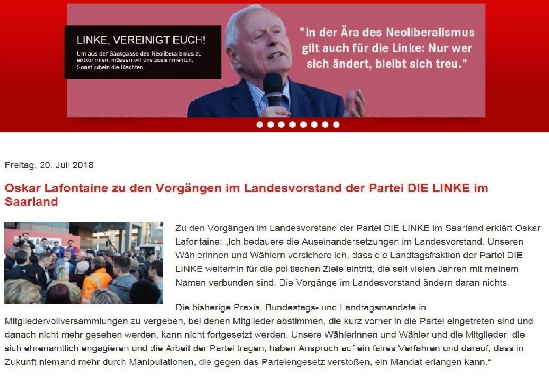 Oskar Lafontaine zu den Vorgängen im Landesvorstand der Partei DIE LINKE im Saarland