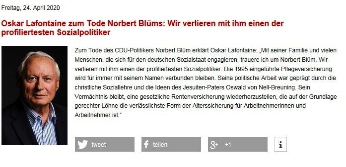Oskar Lafontaine zum Tode Norbert Blüms  - 24.04.2020