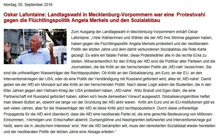 Oskar Lafontaine: Landtagswahl in Mecklenburg-Vorpommern war eine Protestwahl gegen die Fl�chtlingspolitik Angela Merkels und den Sozialabbau