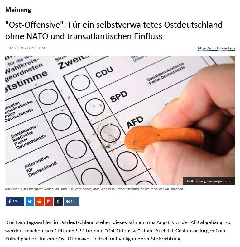 Meinung - 'Ost-Offensive': Für ein selbstverwaltetes Ostdeutschland ohne NATO und transatlantischen Einfluss