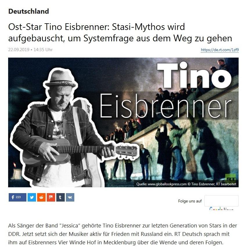 Deutschland - Ost-Star Tino Eisbrenner: Stasi-Mythos wird aufgebauscht, um Systemfrage aus dem Weg zu gehen