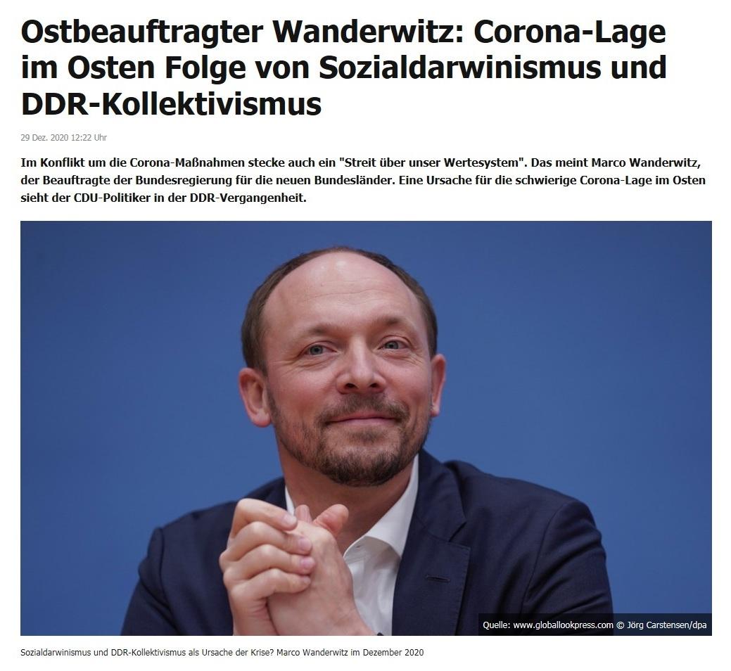 Ostbeauftragter Wanderwitz: Corona-Lage im Osten Folge von Sozialdarwinismus und DDR-Kollektivismus - RT DE - 29 Dez. 2020 12:22 Uhr
