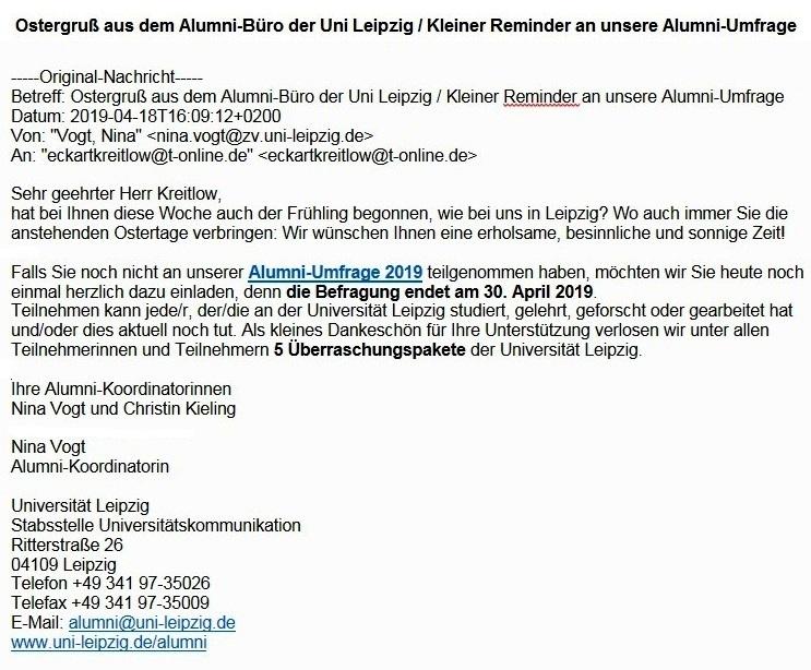 Ostergruß aus dem Alumni-Büro der Uni Leipzig / Kleiner Reminder an unsere Alumni-Umfrage 2019