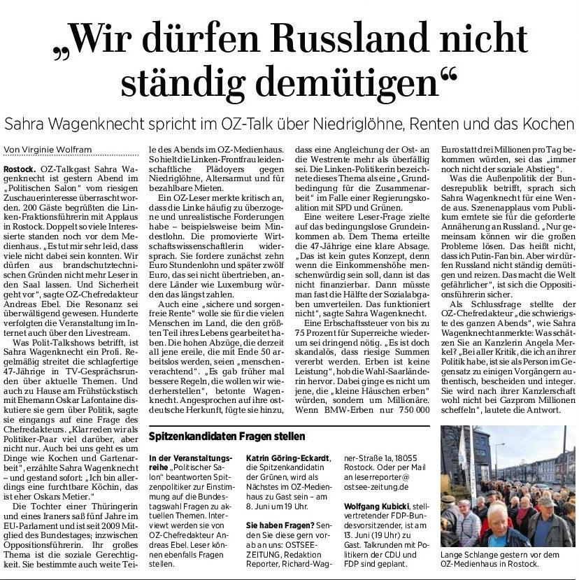 Ostsee-Zeitung - die Unabhängige in Mecklenburg-Vorpommern - Sahra Wagenknecht fordert statt der Konfrontationspolitik Annäherung an Russland und spricht im OZ-Talk auch über Niedriglöhne, Renten und das Kochen  - OZ-Beitrag von Virginie Wolfram vom 29. März 2017