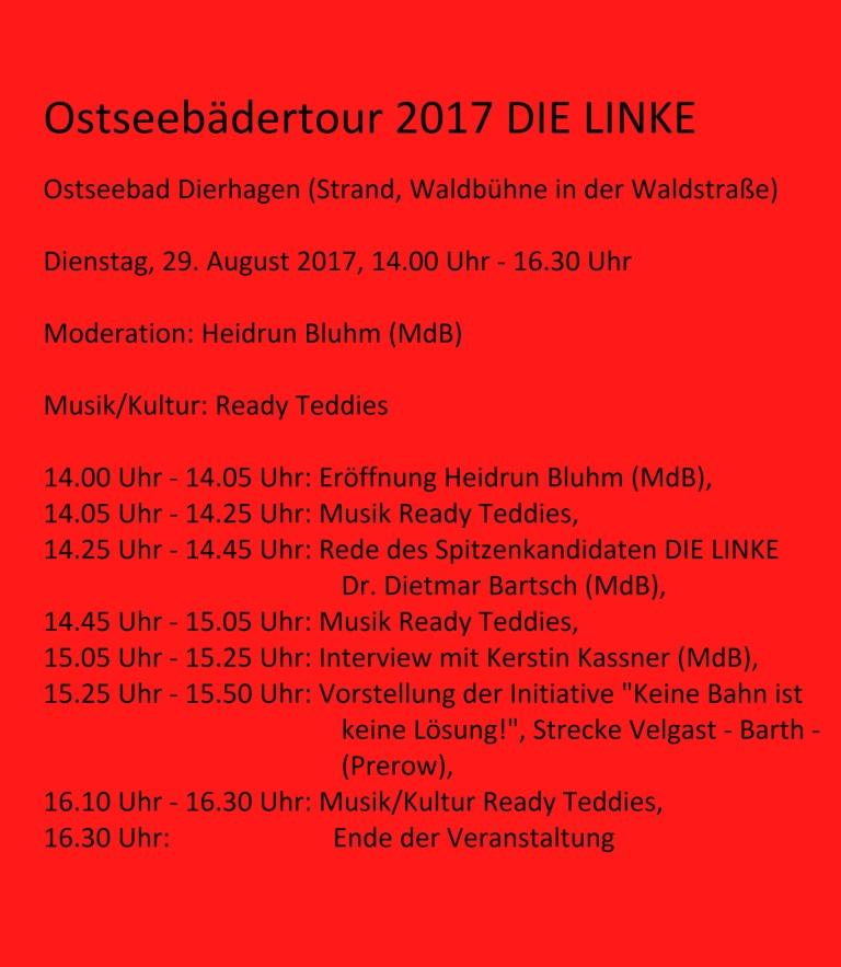 Ostseebädertour DIE LINKE am 29. August 2017 14.00 Uhr - 16.30 Uhr in Ostseebad Dierhagen (Strand, Waldbühne in der Waldstraße)