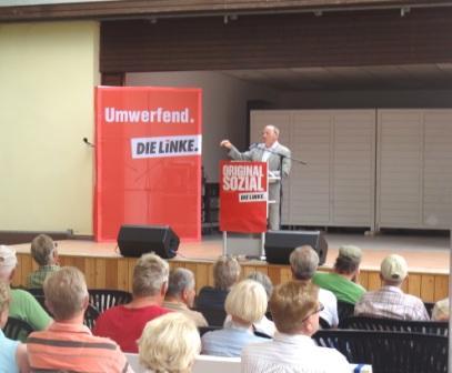 Bilder von der Ostseeb�dertour der Bundestagsfraktion DIE LINKE in Ostseebad Dierhagen am 7.August 2014. Foto: Eckart Kreitlow