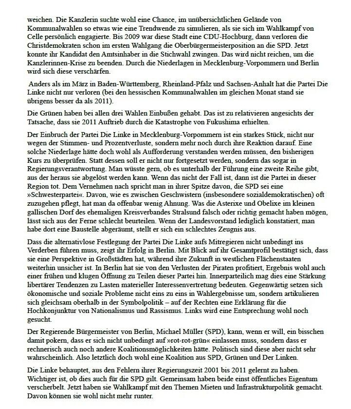 Hauptgewinn und Trostpreis - Beitrag in der Tageszeitung junge Welt vom 20.09.2016 von Professor Dr. Georg Fülberth
