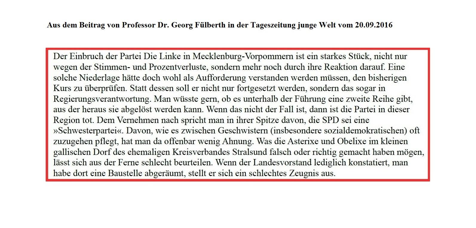 Aus dem Beitrag von Professor Dr. Georg Fülberth in der Tageszeitung junge Welt vom 20.09.2016