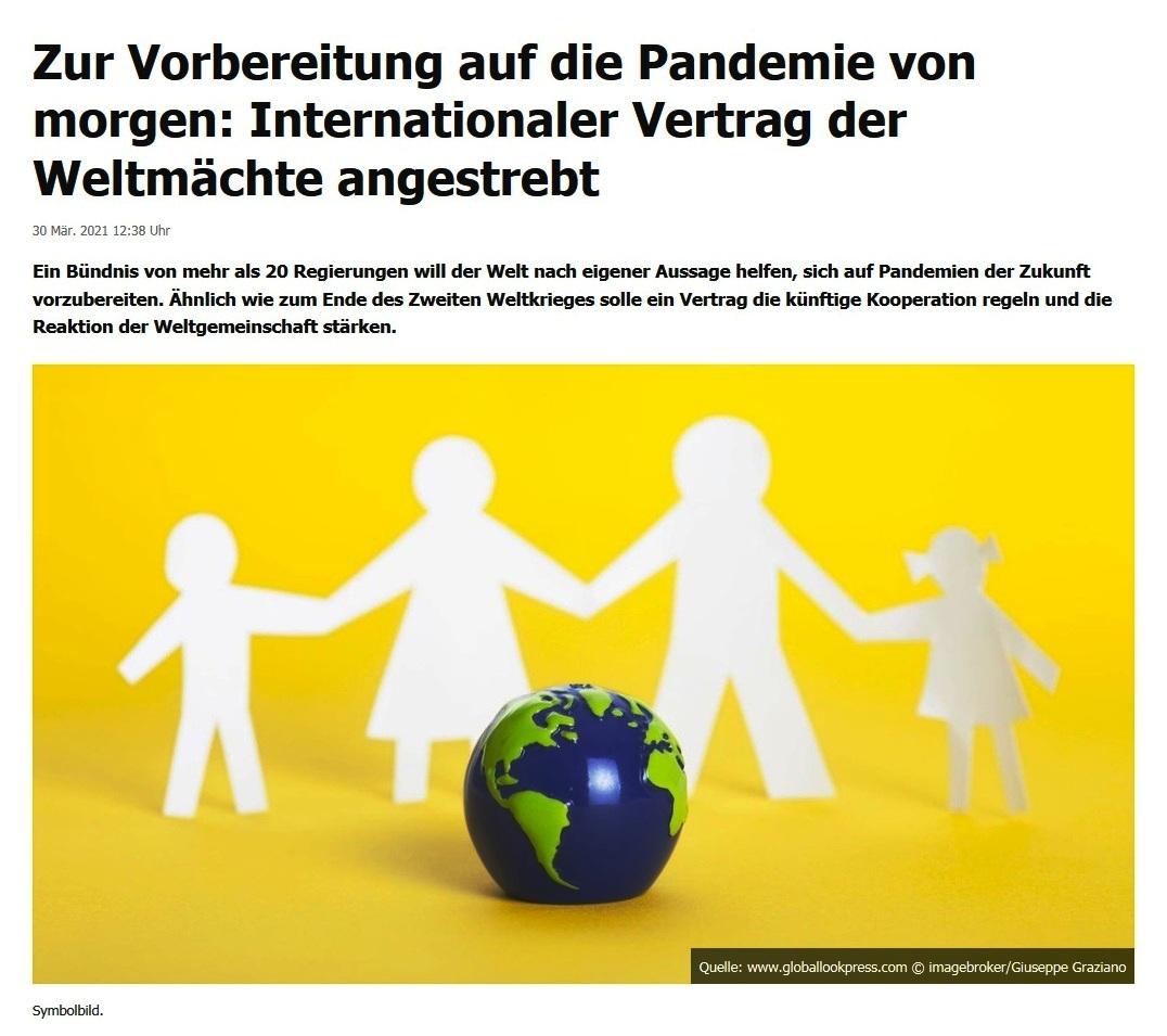 Zur Vorbereitung auf die Pandemie von morgen: Internationaler Vertrag der Weltmächte angestrebt -  RT DE - 30 Mär. 2021 12:38 Uhr