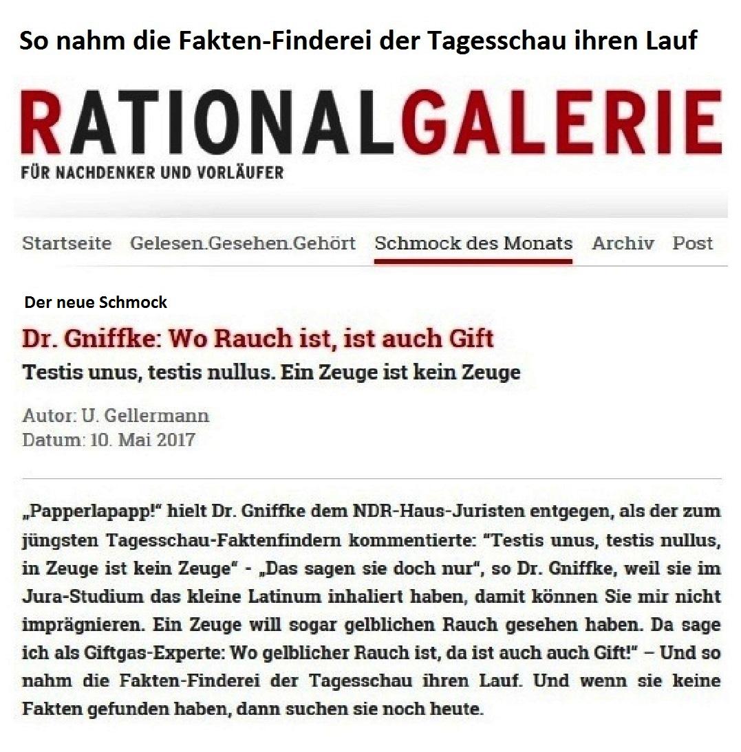 Rationalgalerie.de - Schmock des Monats - Dr. Gniffke: Wo Rauch ist, ist auch Gift - Testis unus, testis nullus. Ein Zeuge ist kein Zeuge - Autor: U. Gellermann - Datum: 10. Mai 2017